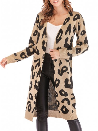 leoparden strickjacke